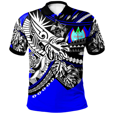 Image of Guam Polo Shirt - Tribal Jungle Blue Pattern - BN20