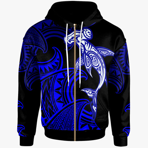 Polynesian Zip-Up Hoodie - Sea Ripples Pattern Blue Color - BN20