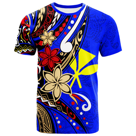 Hawaii T-Shirt - Tribal Flower With Special Turtles Dark Blue Color - BN20
