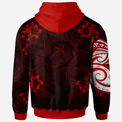 Polynesian Zip-Up Hoodie - Plumeria Flowers Seamless Pattern - BN20