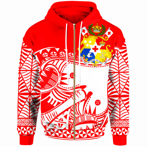 Image of Tonga Custom Personalised Zip-Up Hoodie - Youthful Dynamic Style Red White Color - BN20