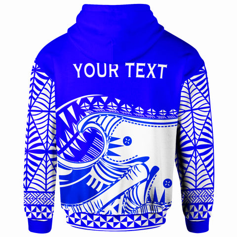 Tonga Custom Personalised Zip-Up Hoodie - Youthful Dynamic Style Blue Neon Color - BN20