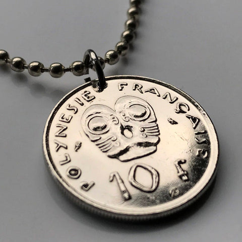 Image of French Polynesia Coin Pendant - French Polynesia 10 Francs Coin Pendant Papeete TIKIS