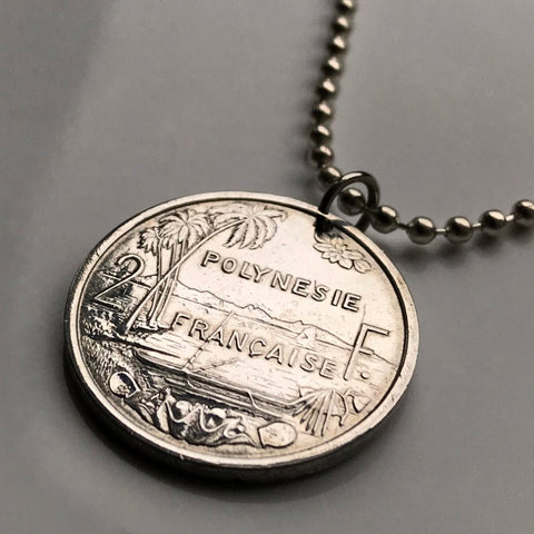 Image of French Polynesia Coin Pendant -  French Polynesia 2 Francs Coin Pendant Tahiti Papeete