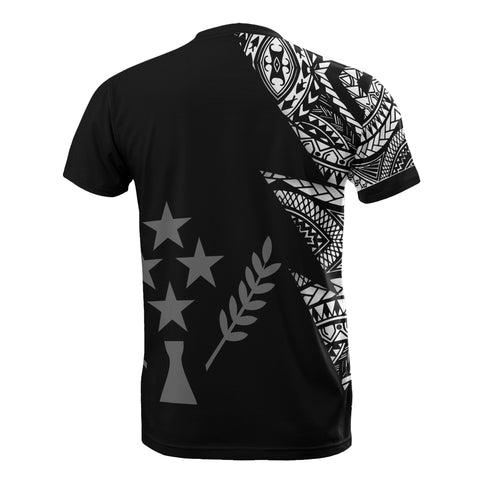 Kosrae Pattern Personalised Custom T-Shirt - Kosrae Flag Polynesian Tattoo Black Style - BN09