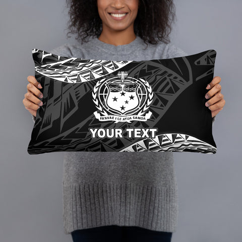 Samoa Custom Personalised Polynesian Pillow - Black Seal