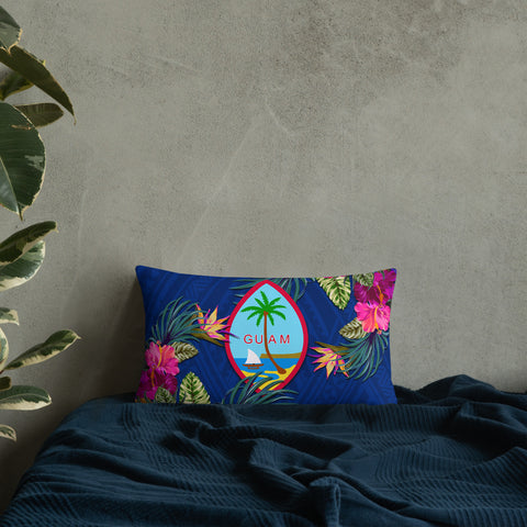Guam Polynesian Pillow - Hibiscus Surround