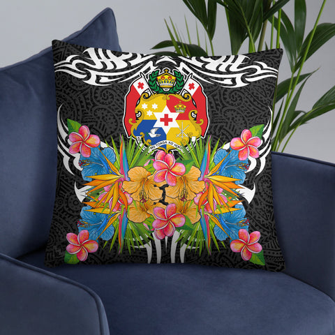 Tonga Pillow - Coat Of Arms With Tropical Flowers - BN01