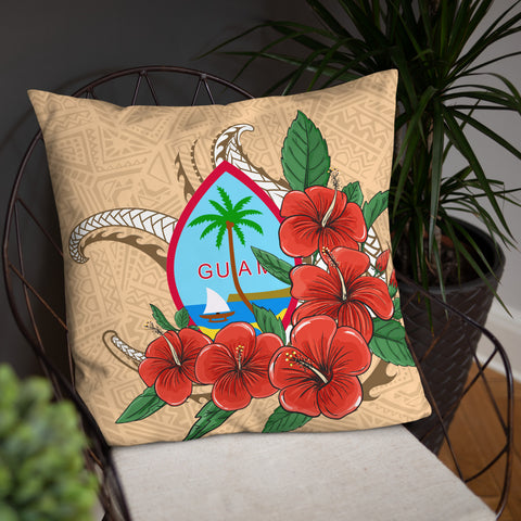 Image of Guam Polynesian Pillow - Hibiscus Coat of Arm