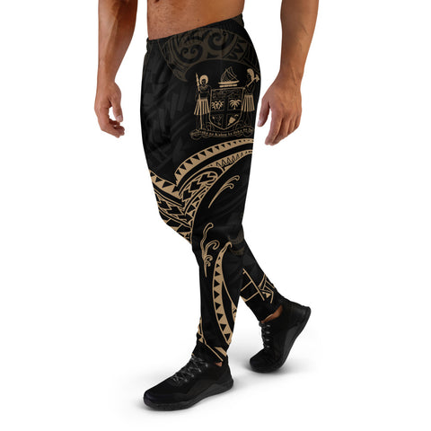 Fiji Polynesian Men's Joggers - Gold Tribal Wave
