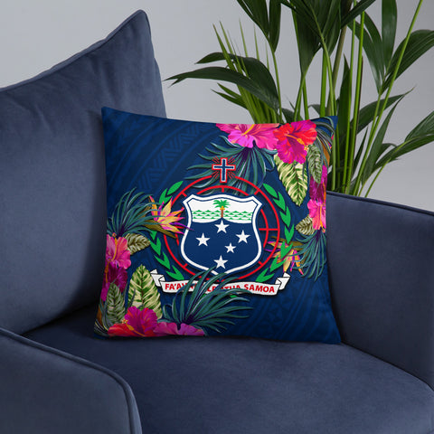 Image of Samoa Polynesian Pillow - Hibiscus Surround - BN39