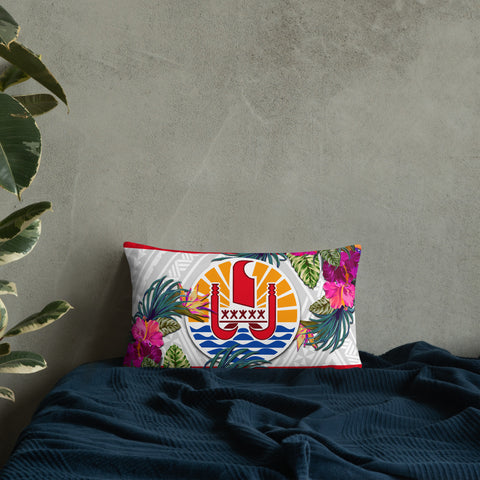 French Polynesia Polynesian Pillow - Hibiscus Surround