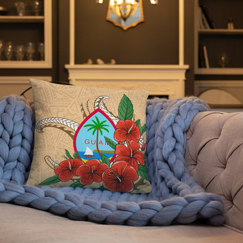 Guam Polynesian Pillow - Hibiscus Coat of Arm