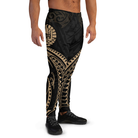 Tahiti Polynesian Men's Joggers - Gold Tribal Wave - BN12