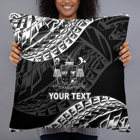 Fiji Custom Personalised Polynesian Pillow - Black Seal - BN39