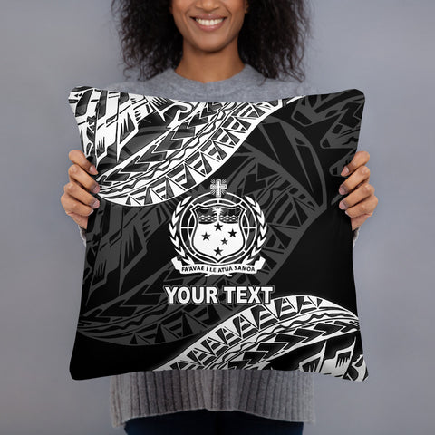 Samoa Custom Personalised Polynesian Pillow - Black Seal - BN39