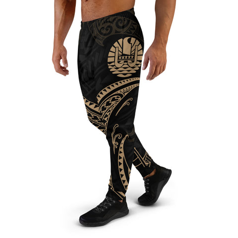 Image of Tahiti Polynesian Men's Joggers - Gold Tribal Wave