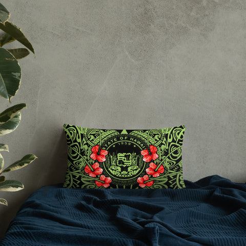 Hawaii Pillow - Coat Of Arms With Hibiscus Flowers - BN01