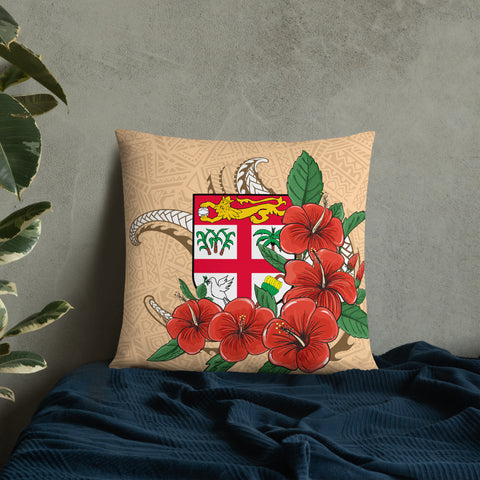Fiji Melanesian Pillow - Hibiscus Coat of Arm