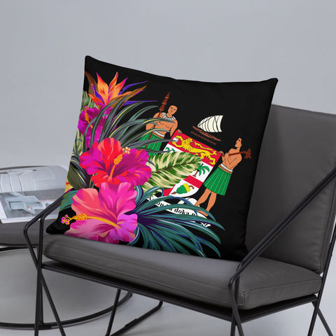 Image of Fiji Polynesian Basic Pillow - Tropical Bouquet
