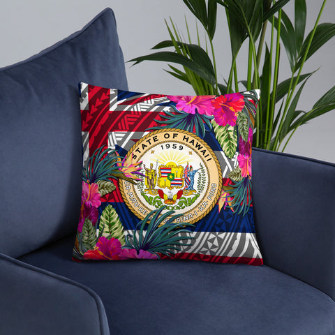 Hawaii Polynesian Pillow - Hibiscus Surround - BN39