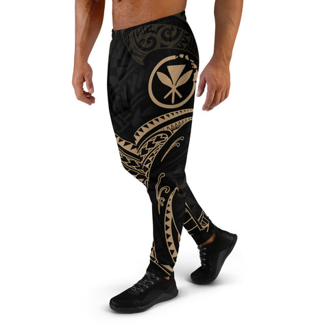 Hawaii Polynesian Men's Joggers - Gold Tribal Wave