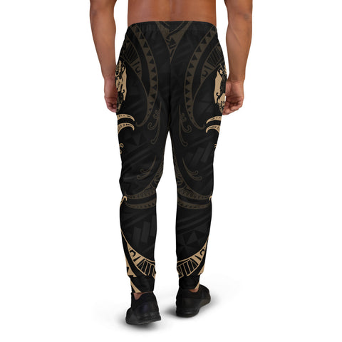 Tonga Polynesian Men's Joggers - Gold Tribal Wave - BN12