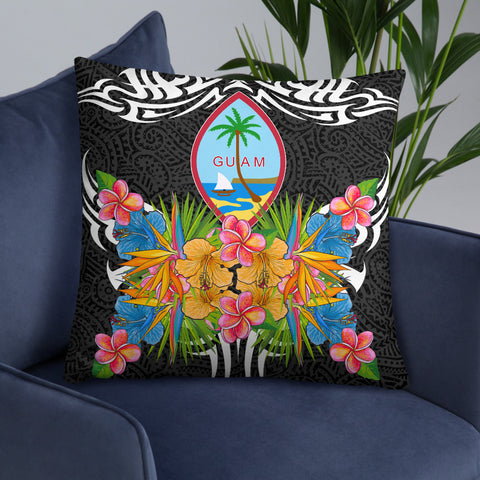 Image of Guam Pillow - Coat Of Arms With Tropical Flowers - BN01