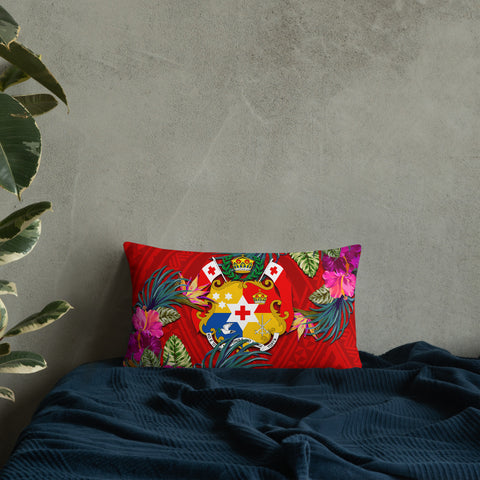 Tonga Polynesian Pillow - Hibiscus Surround
