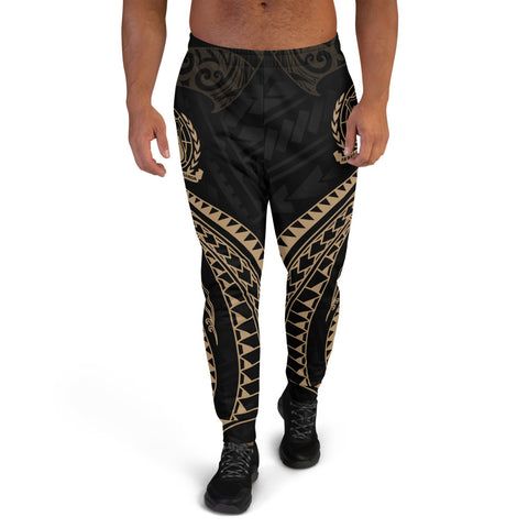 Samoa Polynesian Men's Joggers - Gold Tribal Wave - BN12