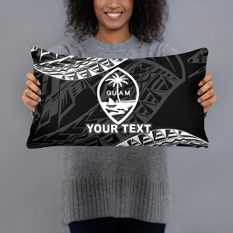 Guam Custom Personalised Polynesian Pillow - Black Seal