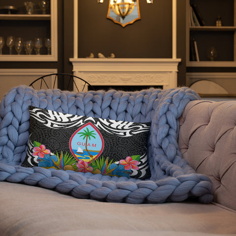 Guam Pillow - Coat Of Arms With Tropical Flowers - BN01