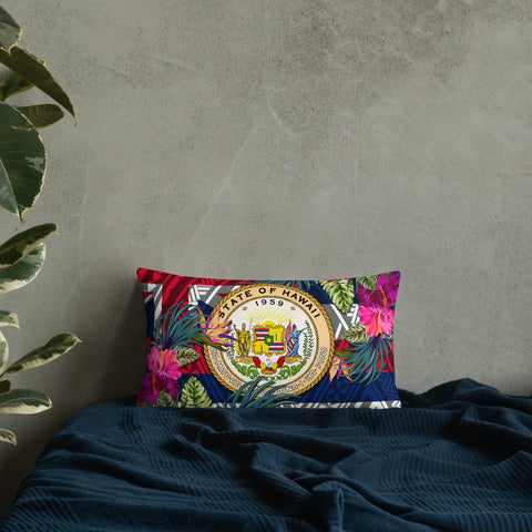 Hawaii Polynesian Pillow - Hibiscus Surround