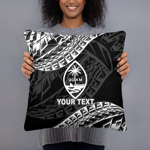 Guam Custom Personalised Polynesian Pillow - Black Seal - BN39