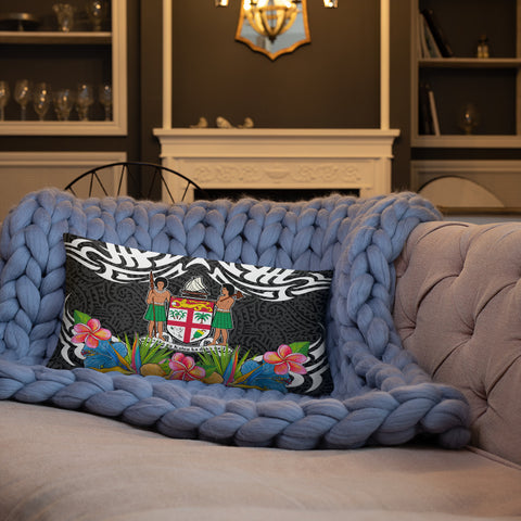 Fiji Pillow - Coat Of Arms With Tropical Flowers - BN01