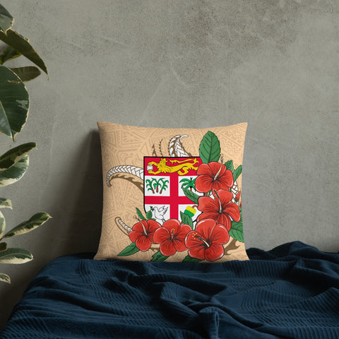 Image of Fiji Melanesian Pillow - Hibiscus Coat of Arm