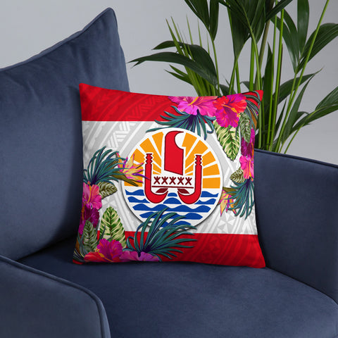 Image of French Polynesia Polynesian Pillow - Hibiscus Surround - BN39