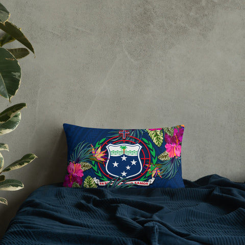 Image of Samoa Polynesian Pillow - Hibiscus Surround