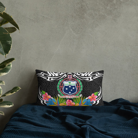 Samoa Pillow - Coat Of Arms With Tropical Flowers - BN01