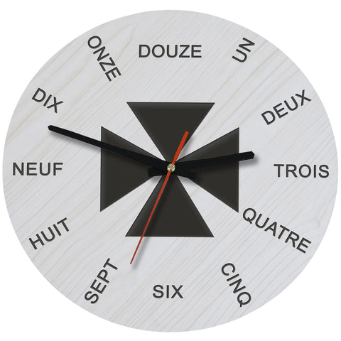 Image of Wallis And Futuna Wooden Wall Clock - French Language - BN11