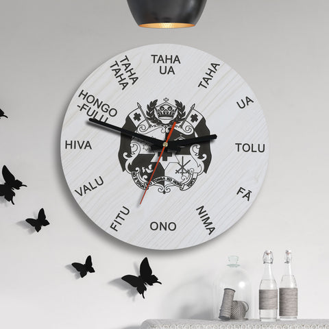 Image of Tonga Wooden Wall Clock - Tongan Language - BN11