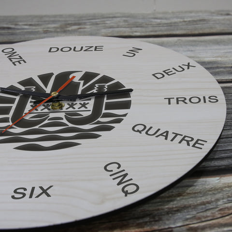 French Polynesia Wooden Wall Clock - French Language - BN11