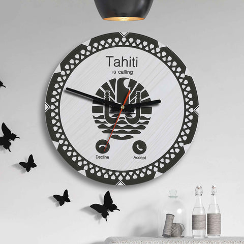 Image of Tahiti Wooden Wall Clock - Calling Style - BN11
