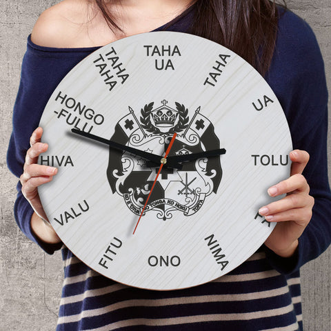 Tonga Wooden Wall Clock - Tongan Language - BN11