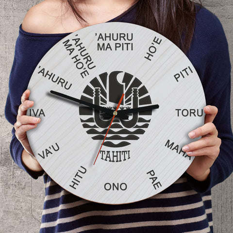 Image of Tahiti Wooden Wall Clock - Tahitian Language - BN11