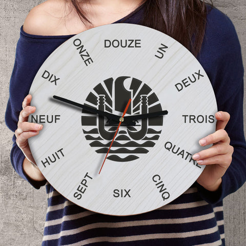 Image of French Polynesia Wooden Wall Clock - French Language - BN11