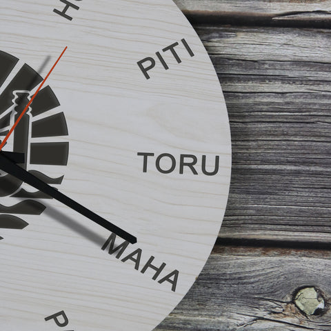 Tahiti Wooden Wall Clock - Tahitian Language - BN11