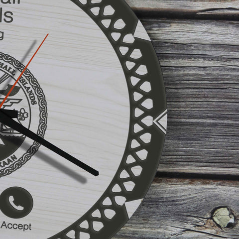 Image of Marshall Islands Wooden Wall Clock - Calling Style - BN11