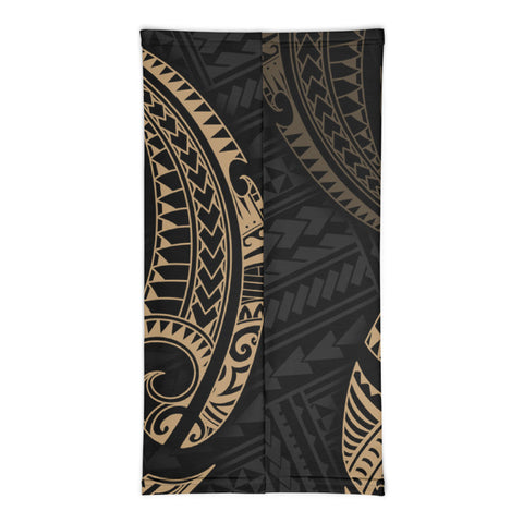 Image of Tahiti Polynesian Neck Gaiter - Gold Tribal Wave - BN12