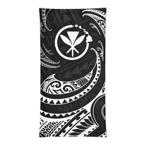 Hawaii Polynesian Neck Gaiter - White Tribal Wave - BN12